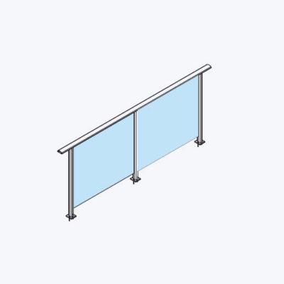 Elipse glassrekkverk med håndløper