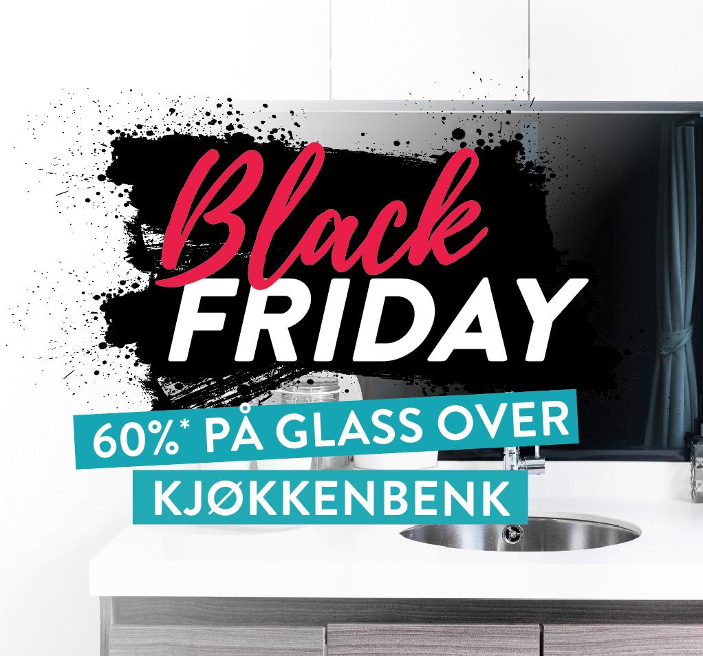 Black friday 60% på glass over kjøkkenbenk - Glassmester1
