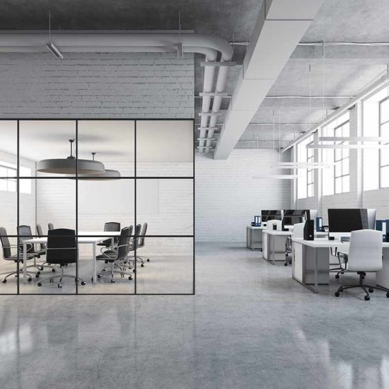 Smijernsvegg - Glassvegger med svarte sprosser til kontor