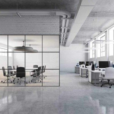 Smijernsvegg - Glassvegger med svarte sprosser på kontor