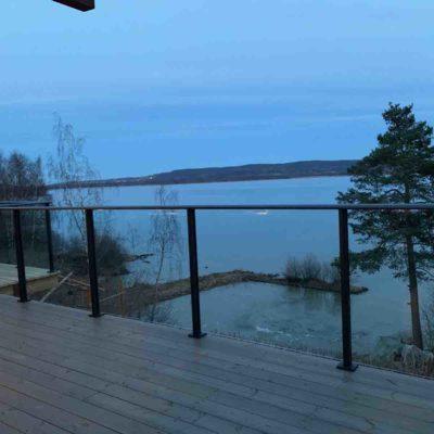 Elipse glassrekkverk til veranda