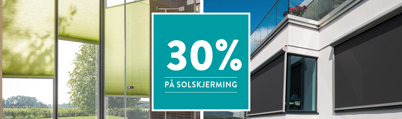 30% rabatt på solskjerming