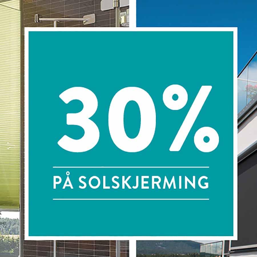 30% rabatt på solskjerming hos Glassmester1 Kongsberg