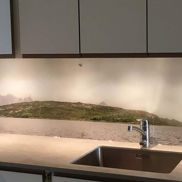 Glassplate med trykk til kjøkken
