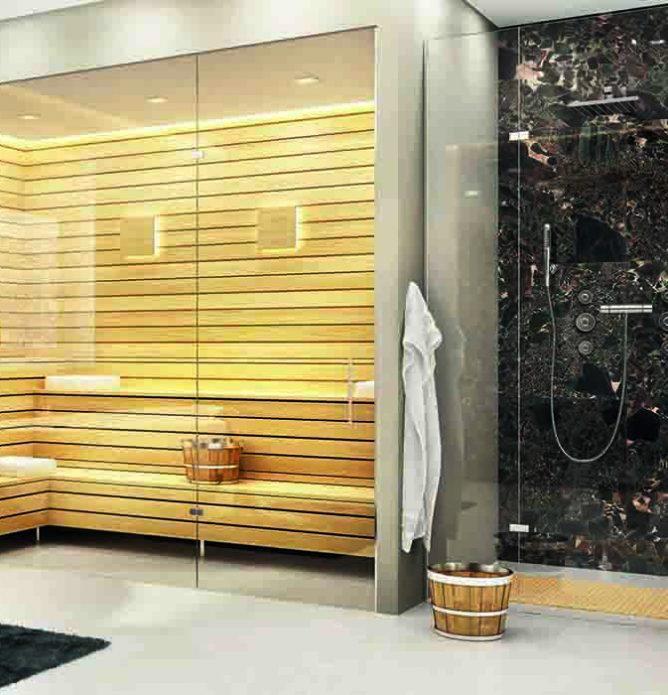 Glassvegger i herdet glass til badstue og dusjhjørne tilpasset på mål