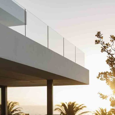 Balcony of modern luxury home showcase exterior at sunset