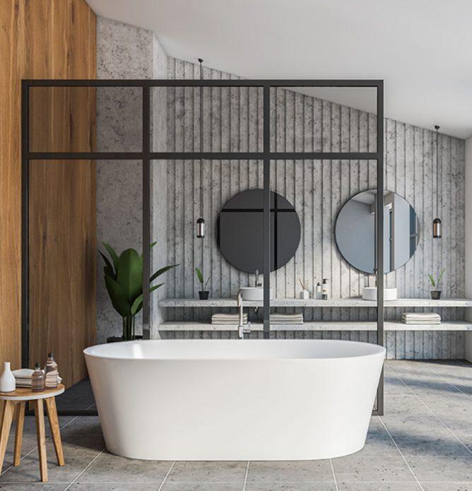 frittstående dusjvegg med svarte profiler og sprosser som dekor