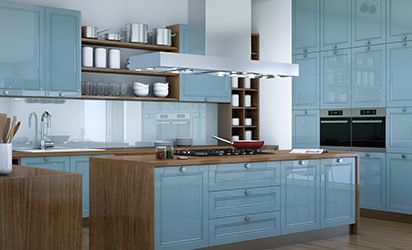 3d Illustration of a blue hite modern kitchen interior design