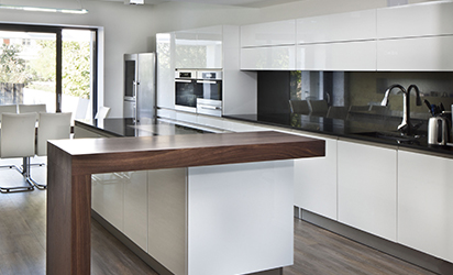 look into the brand new beautiful kitchen in a modern style