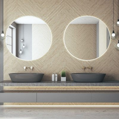 Luxury loft bathroom interior with two mirror on wall, comfortable bathtub and self care products. 3d rendering