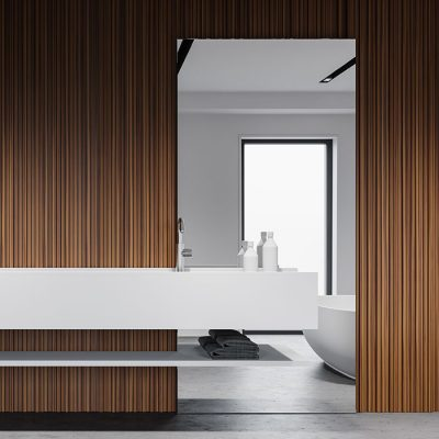 Interior of modern Scandinavian style bathroom with white and wooden walls, concrete floor and big white sink with vertical mirror. 3d rendering