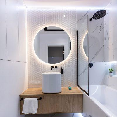 Modern small bathroom interior design. Bright style