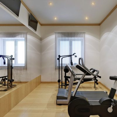 Home gym interior with fitness equipment and large mirror. 3d rendering