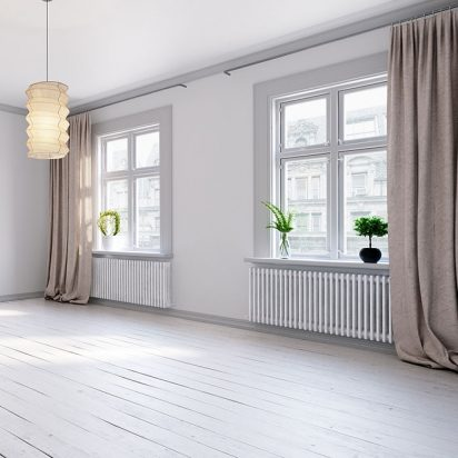 Scandinavian empty apartment interior without furniture with large wall and landscape in window. Home nordic interior. 3D illustration.