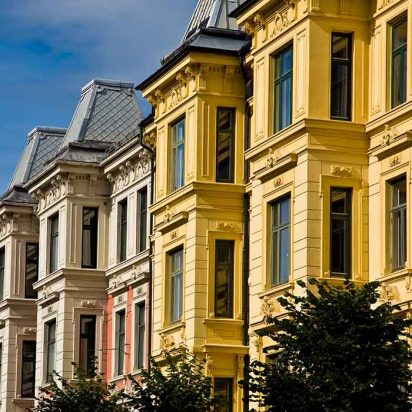 Victorian homes and apartments in Oslo Norway