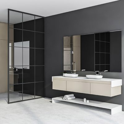 Corner of loft bathroom with beige, gray and glass walls, white tiled floor, comfortable gray bathtub and double sink on beige countertop. 3d rendering